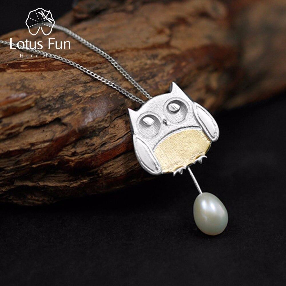 Anhänger Lotus Spaß Echt 925 Sterling Silber Handgemachtes Feine Schmuck Kreative Wald Jagd Thema Agile Eule Anhänger Ohne Halskette Erfrischung