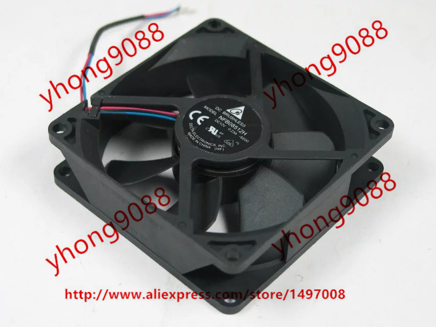 Free Shipping For  DELTA NFB08512H, -SE00 DC 12V 0.23A, 85x85x25mm 50mm, 3-wire 3-pin connector Server Square Cooling Fan delta 12038 12v cooling fan afb1212ehe afb1212he afb1212hhe afb1212le afb1212she afb1212vhe afb1212me