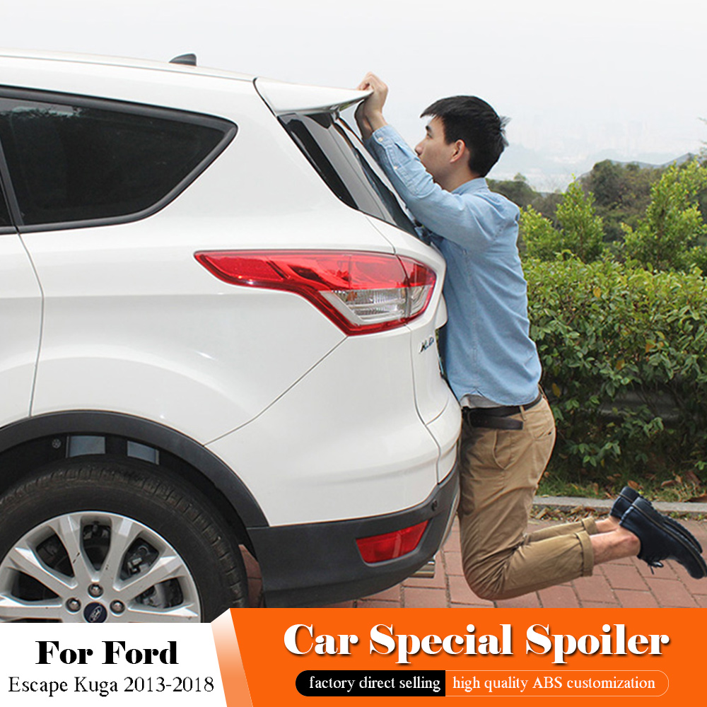 AITWATT For Ford Escape Kuga 2013 2014 2015 2016 2017 2018 Exterior ABS Plastic Unpainted Primer Color Rear Trunk Wing SpoilerAITWATT For Ford Escape Kuga 2013 2014 2015 2016 2017 2018 Exterior ABS Plastic Unpainted Primer Color Rear Trunk Wing Spoiler