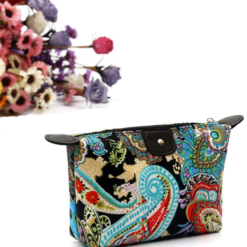 Most Popular 1PC Fashion Women Travel Make Up Cosmetic Pouch Bag Clutch Handbag Casual Purse Polyester Material necesser