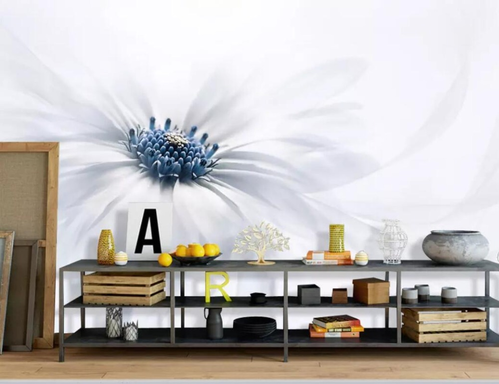 Fashionable And Simple Nordic Flower White Background Wall Painting