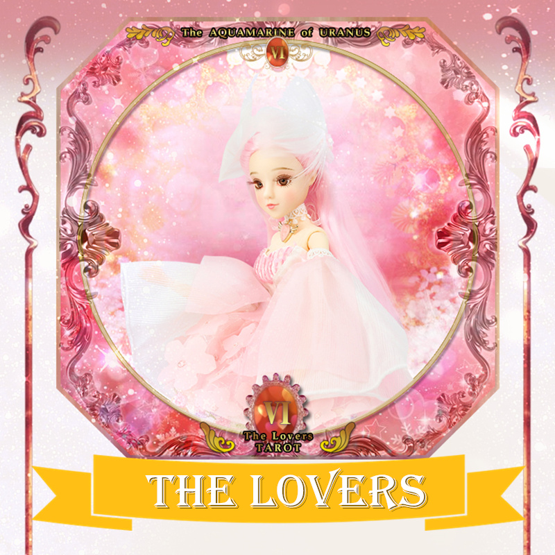 TAROT CARD Major Arcana The Lovers joint body doll pink hair pink dress 34cm east barbi the classic tarot карты