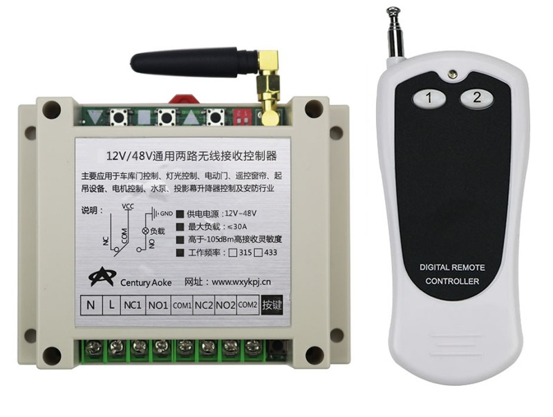 New DC12-48V 2CH RF Wireless Remote Control Switch System library door control 1pcs (JRL-2) transmitter 1 receiver Learning code new restaurant equipment wireless buzzer calling system 25pcs table bell with 4 waiter pager receiver