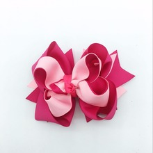 1 Piece 5inch Girls Hair Bows For Hairpins Boutique Soild Ribbon clips Headwear Kids Handmade Accessories