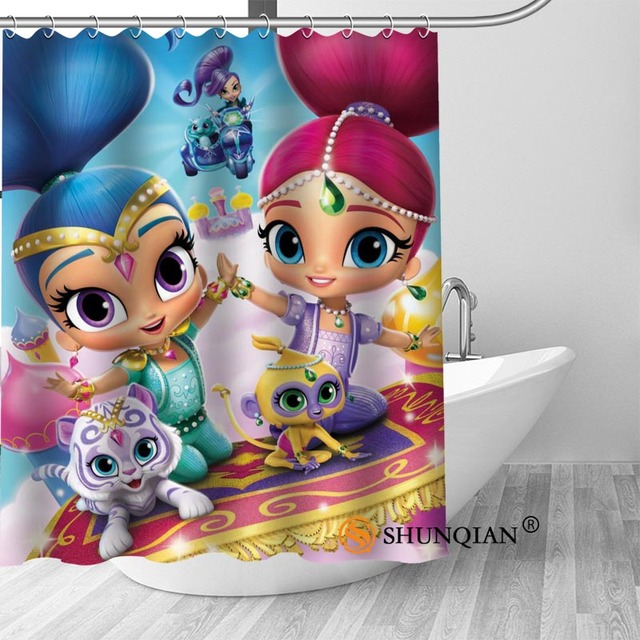 Custom Shimmer Shine New Arrival Polyester Fabric Printing Shower Curtain Waterproof With Hooks Bath For Bathroom Gift