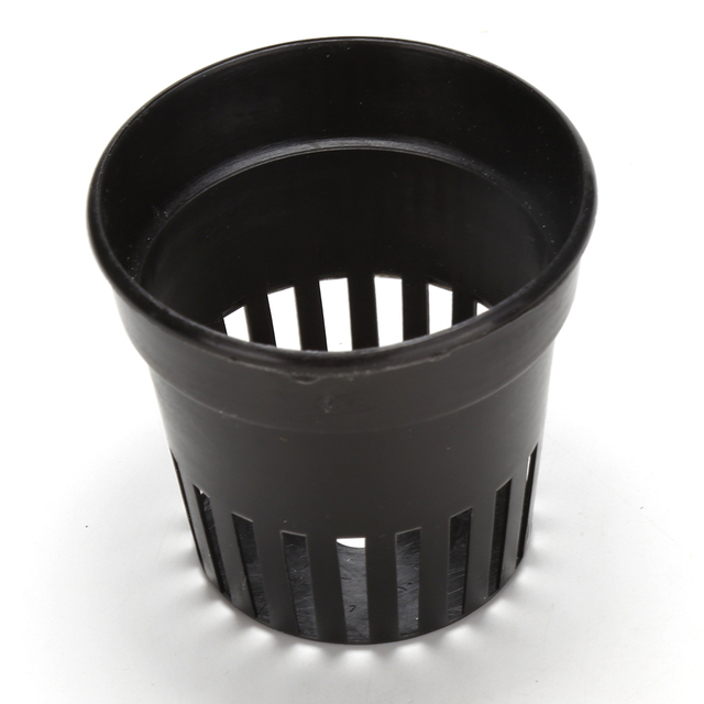 10 Pcs/lot Heavy Duty Black Mesh Pot Net Basket 3inch + Clone Collar White Insert Root Guard Hydroponic Flower Plant Green Grow