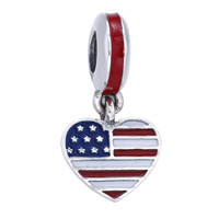925 Sterling Silver Heart American Flag Charm Fit Original Pandora Bracelet Necklace For Women Authentic Jewelry