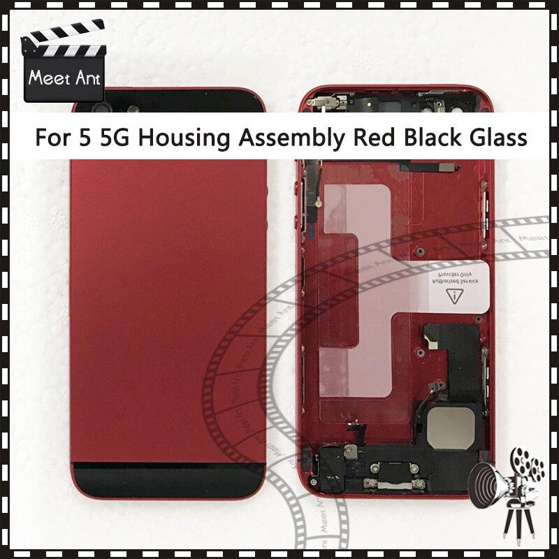 AAA de Haute Qualité Pour iphone 5 5G 5S Retour Moyen-Cadre châssis Assemblée Logement Complet Couvercle de La Batterie Porte Arrière avec Flex Câble