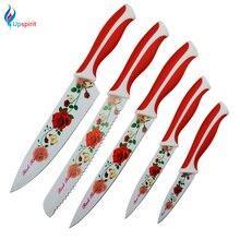 """Upspirit Acero Inoxidable Cuchillos de Cocina 3.5 """"5"""" 8 """"pulgadas Conjunto Cuchillo de Pelado de la Fruta Utility Chef Cuchillos de Pan Cuchillo 5 UNIDS Rosa Roja"""