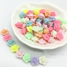 Whsle 100PCs Mixed Colors Cute Flower Rose Shape Acrylic Beads Bracelet Necklace Making Craft Jewery Findings 13x13mm 100Pcs/Bag(China)