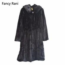 New Winter Genuine Mink Fur Coats For Women Natural Mink Full Pelt Coat With Fur Hood High Quality Overcoat Real Mink Fur Coat