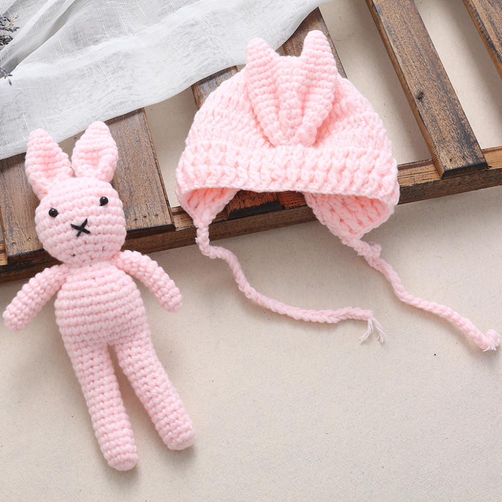 Newborn Baby Girl Boy Knit Crochet Hat Rabbit Toy Photography Prop Outfit Gift MAY16_35 cute newborn baby girls boys crochet knit costume photo photography prop outfit one size baby bodysuit hat 2pcs