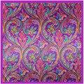 [Lesida] moda foulard mujeres polyster bufanda flor de la impresión de bohemia bufandas cuadradas de moda famosa marca mantón 90*90 cm 9116