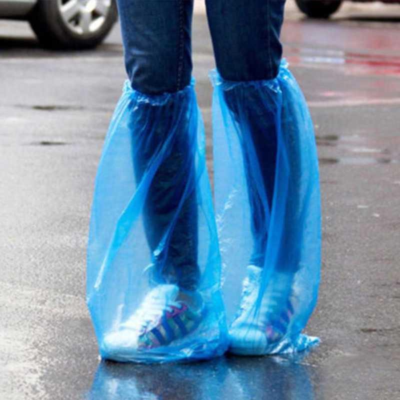 Baru 1 Pair Pria Wanita Tahan Lama Tahan Air Tebal Plastik Sekali Pakai Hujan Sepatu Covers High-Top Boot Universal