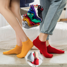 Kawaii Embroidered Expression Candy Color Woman Socks Happy Fashion Girls Ankle