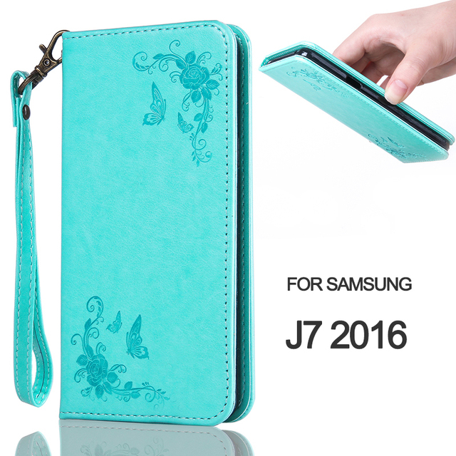 PU-Leather Flip Case For J7 2016 Rose Flower Butterfly Magnetic Wallet Phone Case For Samsung Galaxy J7