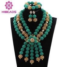 Teal Costume Jewelry Set Wedding nigeriano Beads Africani Jewelry Set Verde/WD385 Oro Bib Collana Trasporto Libero Stabilito