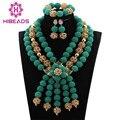 Teal Traje Conjunto de Jóias de Casamento Nigeriano Beads Africanos Set Jóias Verde/Ouro Declaração Bib Necklace Set Frete Grátis WD385