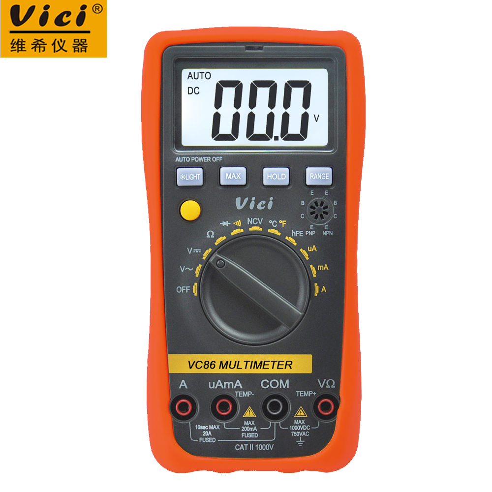 цены  Digital Multimeter 3 1/2 Vici VC86 Auto Range DMM Temperature Meter w/NCV hFE Test & LCD Backlight