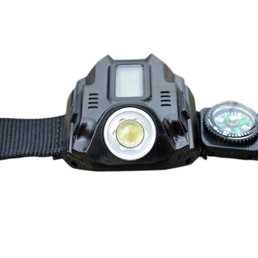 Waterproof LED Tactical Watch Display Flashlight USB Rechargeable Wrist Torch 120LM Multi Tools Outdoor Lighting tactical led wrist watch flashlight torch light usb rechargeable outdoor camping