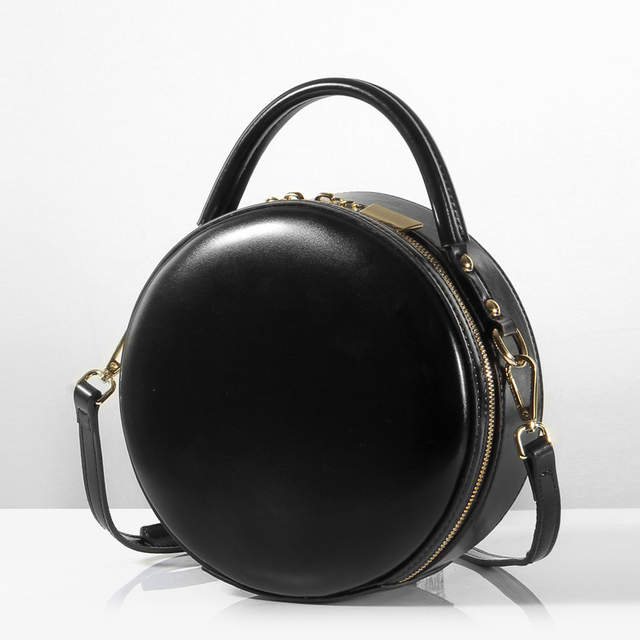Leather Small Round Bag Women Round Handbags Cute Circular Women Shoulder  Bag Mini Street Party Bag