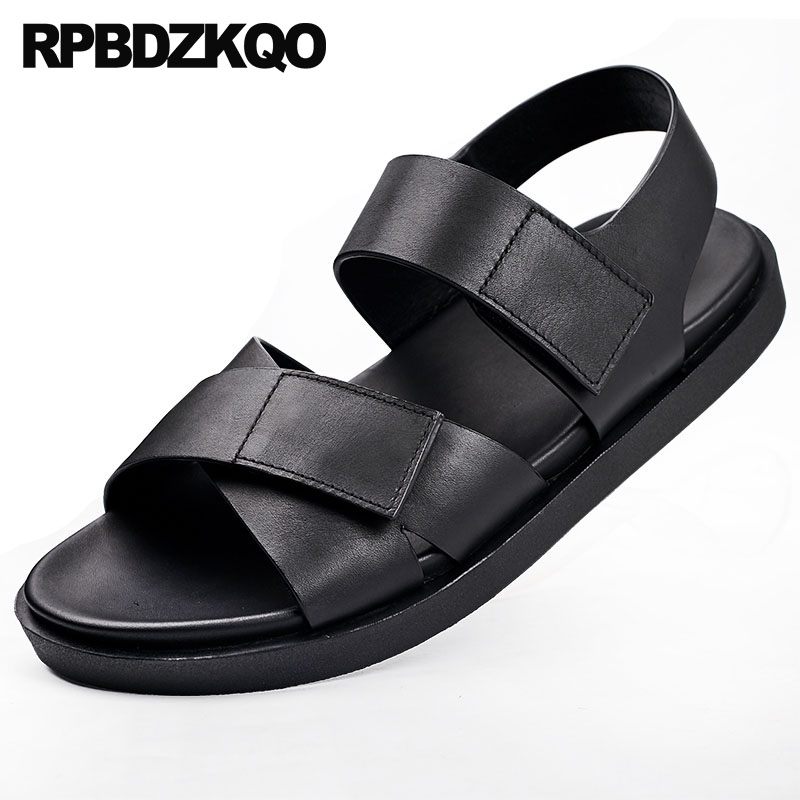 outdoor black italian sandals 2019 genuine leather native breathable summer strap flat open toe designer shoes men high qualityoutdoor black italian sandals 2019 genuine leather native breathable summer strap flat open toe designer shoes men high quality