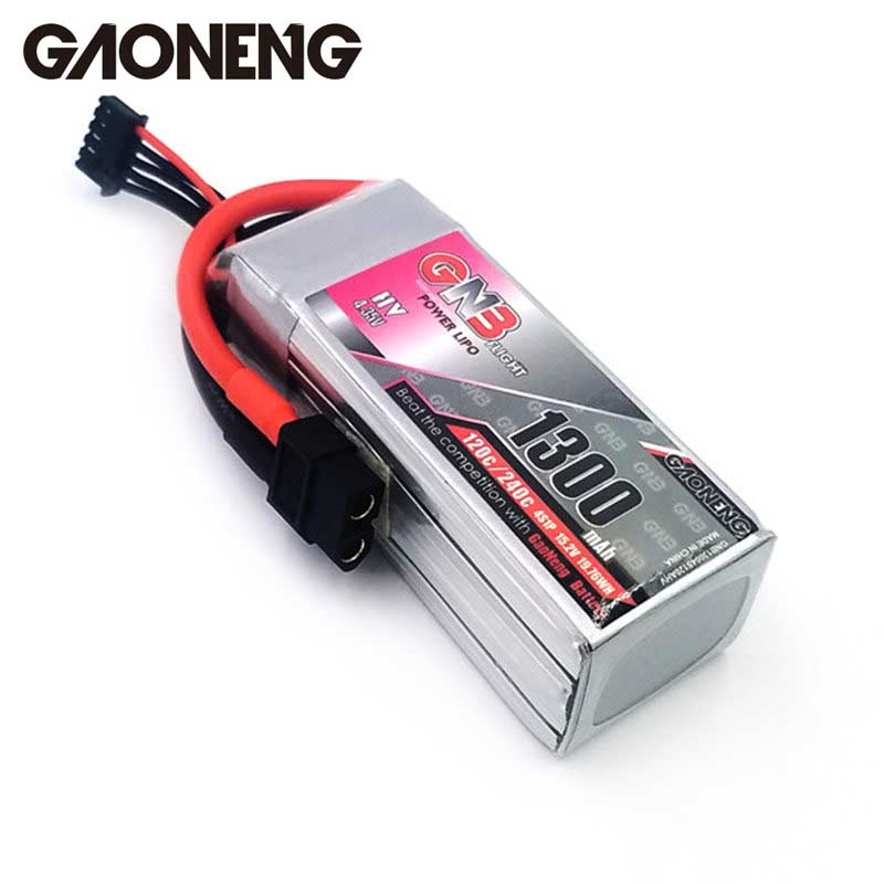 GaoNeng GNB 4S 15.2V 1300mAh 120C 4.35V HV Rechargeable Lipo Battery XT60 Plug Connector for Racing Drone RC Models Power Accs gaoneng gnb 11 1v 350mah 50c 100c 3s lipo battery jst xt30 plug connector for rc racing drone fpv quadcopter toy spare parts