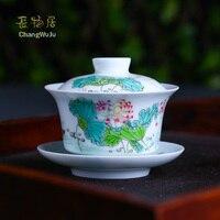Changwuju в Цзиндэчжэнь Чашки блюдцами ручной работы кунг фу чай изделия Большие размеры Famille роза чайная покрыта чаша написаны jinhongxia