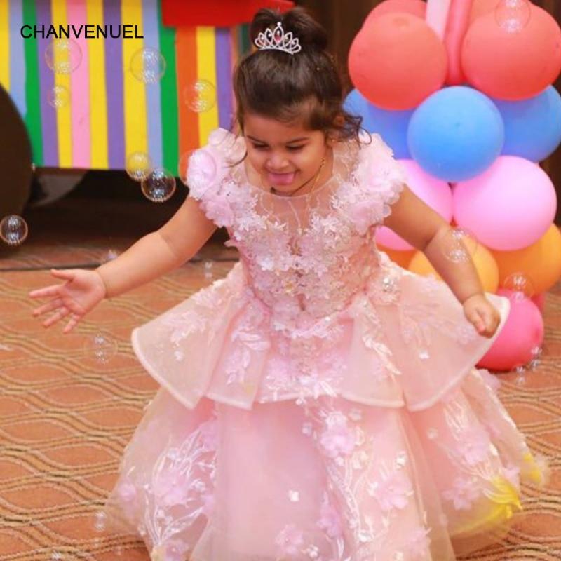 LS00196 pink   flower     girls     dresses   o-neck cap sleeve parent-child   dresses   floor length   girls   pageant   dresses   holy communion   dress