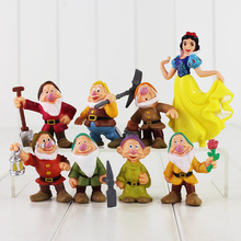 New Anime 8pcs set Seven Dwarfs And Princess Snow White PVC Figure Doll Toys Christma Gift