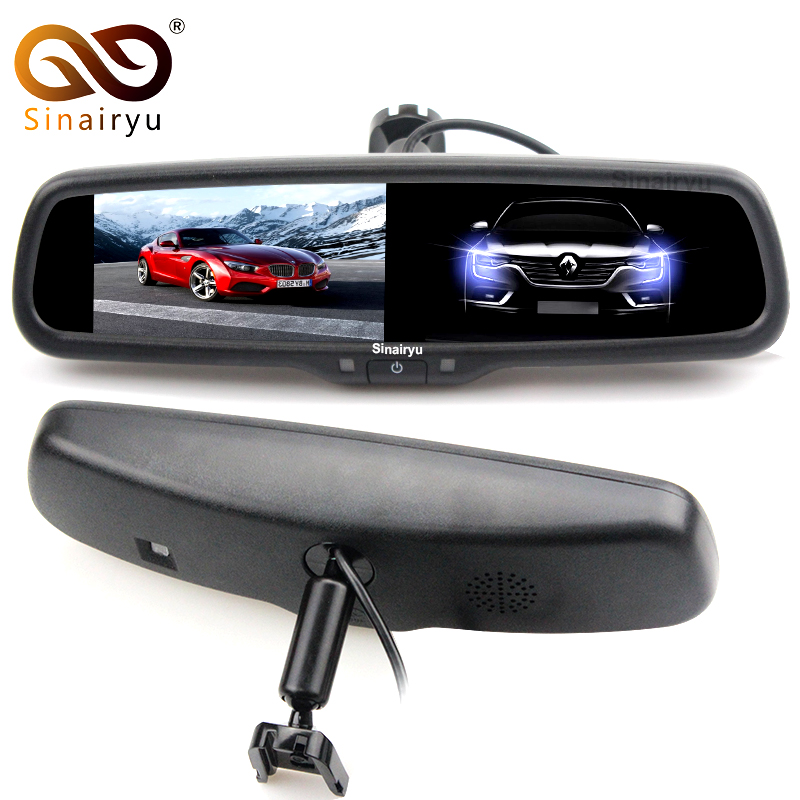 Sinairyu Auto Dimming Rear View Mirror Monitor 4.3 Inch 800*480 Resolution TFT LCD Color Car Monitor Built in Special Bracket