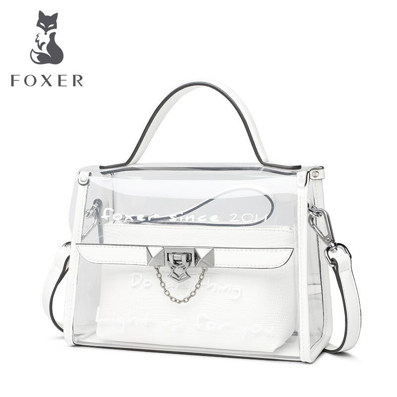 FOXER high-quality fashion luxury brand jelly bag 2018 new PVC transparent bag female Korean fashion wild portable Messenger bag