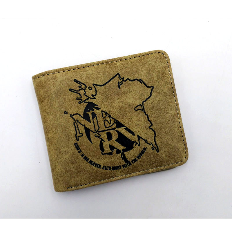Anime NEON GENESIS EVANGELION/EVA/Himouto Umaru-chan/Black Rock Shooter etc PU short wallet/coin purse Khaki Color japan anime himouto umaru chan wallet doma umaru cosplay coin card women men bifold purse