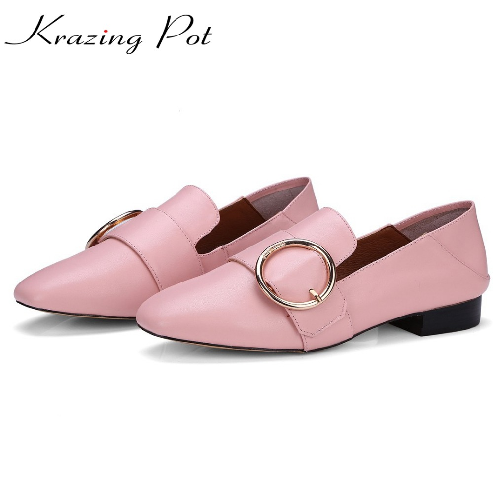 Krazing pot women brand shoes metal decoration flats round toe loafers genuine soft leather plus size slip on women footwear L88 women ladies flats vintage pu leather loafers pointed toe silver metal design