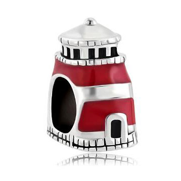 Fit Pandora charm bracelets Antiqued Beacon Of Hope Red Lighthouse Charm For Bracelet Tower Bead Beads for jewelry making