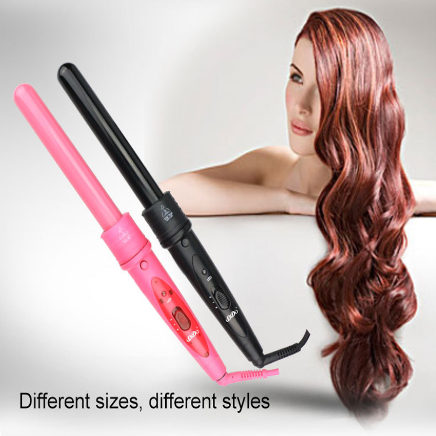 Купить с кэшбэком Digital Temperature Control Styling Tools Ceramic Cone Hair Curling Iron Tong Hair Curler Roller Curling Wand Free Shipping
