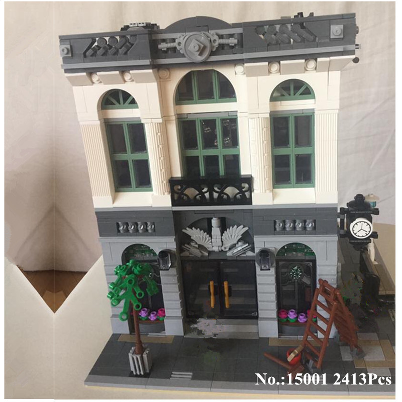 H&HXY IN STOCK Free shipping 15001 2413Pcs  Brick Bank Model Building Kits  Blocks Bricks Toy LEPIN Compatible With 10251 Gifts free shipping lepin 16002 pirate ship metal beard s sea cow model building kits blocks bricks toys compatible with 70810