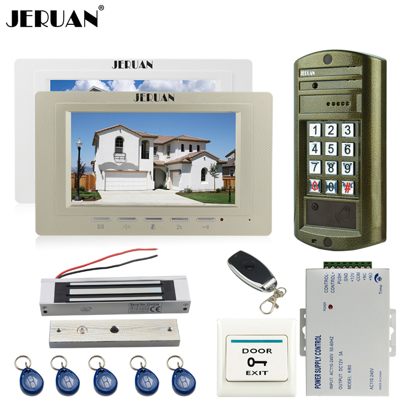 JERUAN 7 inch TFT Video Door Phone Intercom System kit Metal Waterproof Access Password HD Mini Camera + 180KG Magentic lock 1V2