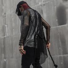 Mężczyźni hollow out mesh długi trench coat z konopnej liny pas sexy gothic punk rock płaszcz z kapturem klub nocny piosenkarka DJ etap kostium tanie tanio Wykop Poliester Pełna Punk style O-neck Stałe Otwórz stitch Cienkie Wstążki NONE REGULAR CT225 Suknem Konwencjonalne