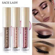 SACE LADY Glitter Eyeshadow Liquid Shimmer Make Up Eye Shadow Waterproof Metals Illuminator Glow Kit Pigment Highlighter Cream