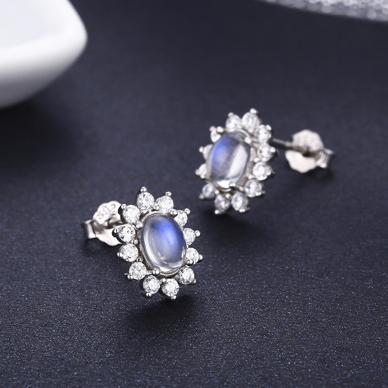 Cute 925 Sterling Silver Oval Natural Moonstones & CZ Accent Stud Earrings For Women Girls Kid Jewelry Orecchini Aros Aretes