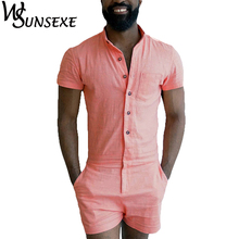 Summer Fashion Short Sleeve Mens Rompers Male Single Breasted Jumpsuit Cargo Short Pants Boyfriend Zip Trousers Party Overalls