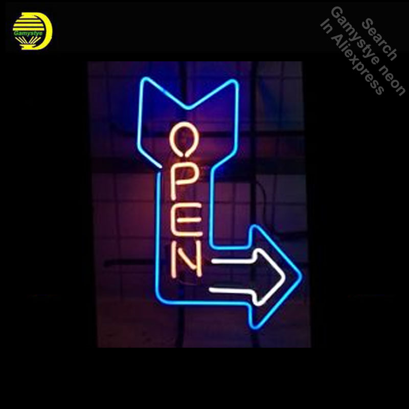 Open Arrow NEON LIGHT SIGN Neon Sign REAL GLASS Tube BEER BAR PUB Light Sign Store Display Handcraft Design Iconic Sign replace tube for custom neon sign board lexingtow bbq barbecue glass tube beer bar club display store shop light signs
