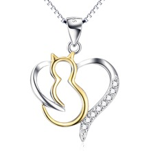 925 Sterling Silver Necklace Jewelry Animal Cat Pet Pendant Open Love Heart Necklace For Women Gifts GNX10249