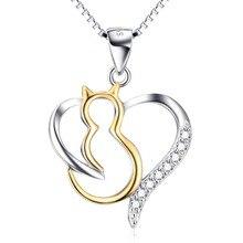 Plata de Ley 925 Collar de La Joyería Animal Gato Mascota Colgante GNX10249 Abrir Collar Del Amor Del Corazón Para Los Regalos de la Mujer
