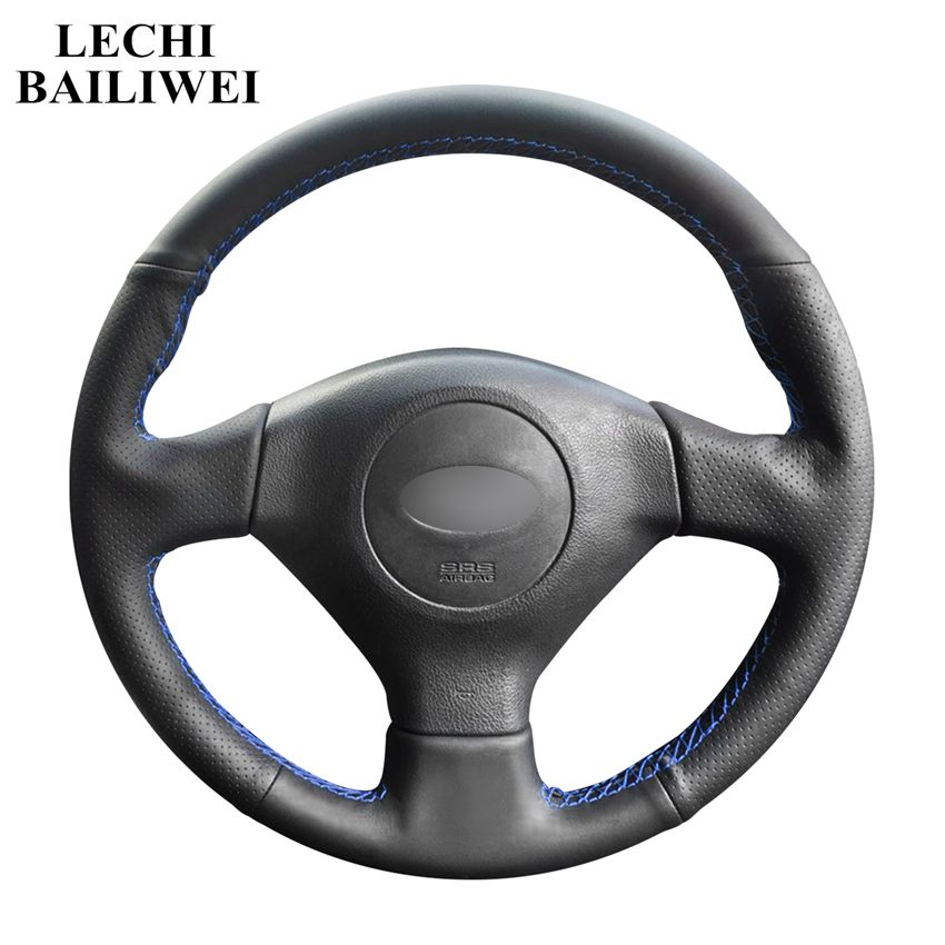 DIY Hand-stitched Black Artificial Leather Car Steering Wheel Cover for Subaru Legacy Impreza 2004-2005 Saab 9-2X 2005-2006(China)