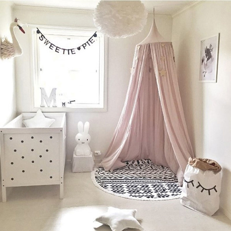 Mother & Kids Hanging Kid Baby Bedding Round Dome Bed Decoration Canopy Bedcover Mosquito Net Curtain Chiffon Three-open Tassel Bed Romantic Baby Bedding