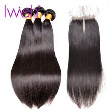 Iwish Human Hair Bundles Med Stängning Brazilian Straight Hair Mellan Del 3 Bundlar With Closure Non Remy Hair Weave