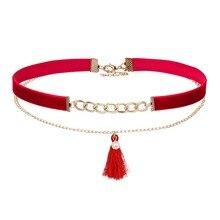 New Fashion Style Women Jewelry Black Velvet Chokers Beads Chain Choker Tassel Pendant Two Layers Collar Necklace NS3657