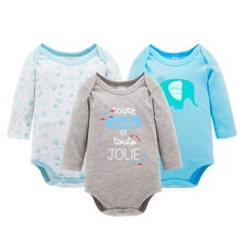 100% Cotton 3pcs/set Baby Long Sleeve Rompers